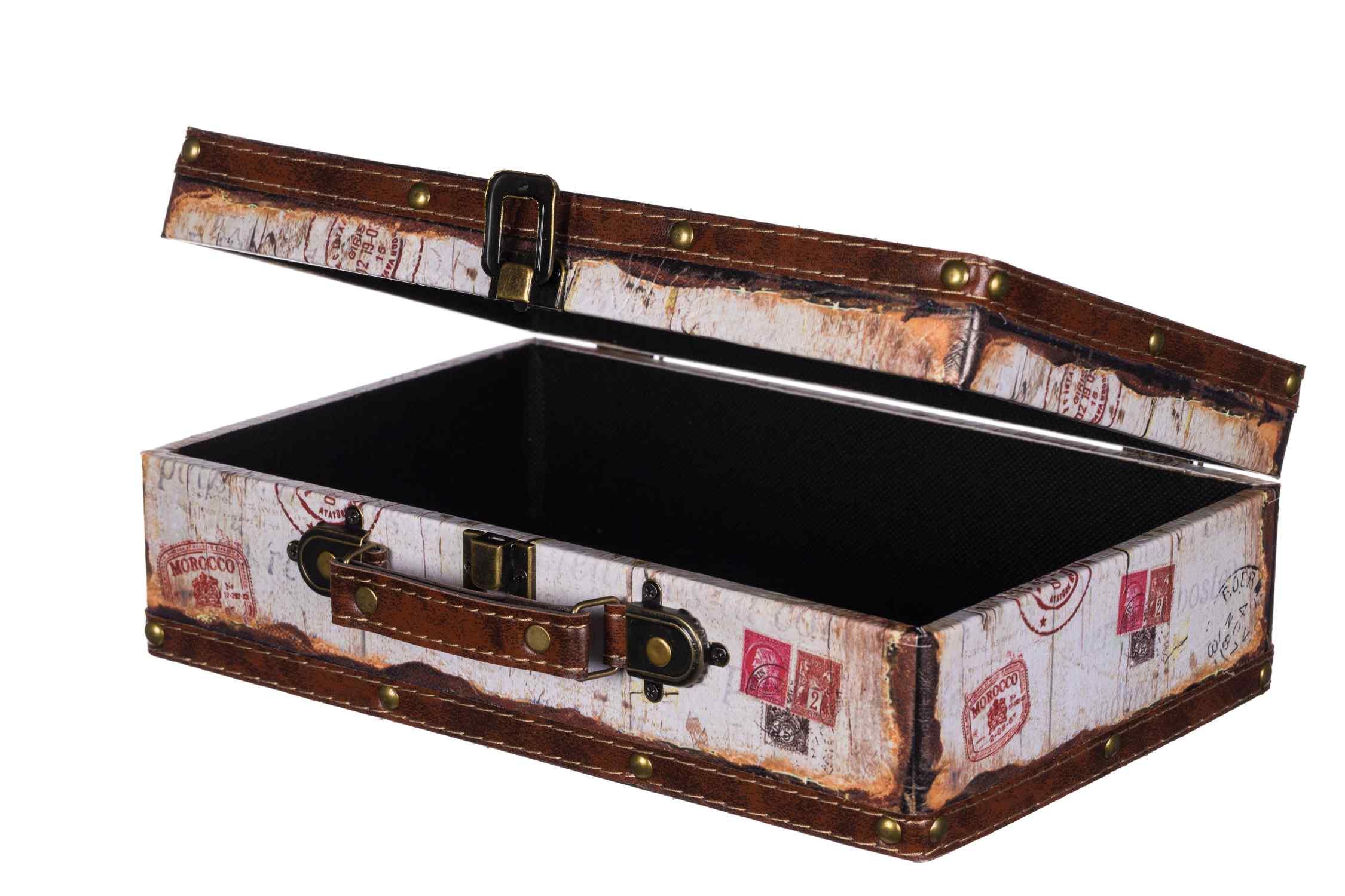 Gr/ö/ße L 49cmx28x25cm Orange Truhe Kiste SJ14307 Krone K/önigin England Holztruhe mit Kunstleder bezogen im Vintage Look Schatzkiste Piratenkiste Metallbeschl/äge koloniale Holzbox mit Ornamenten